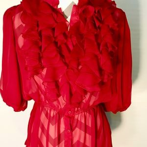 Gorgeous Red Ruffled Blouse